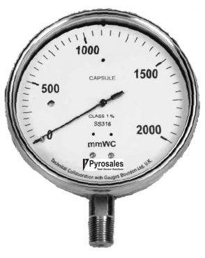 Capsule sensing pressure gauge