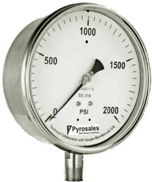 Safety pattern solid front pressure gauge
