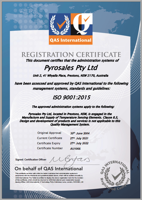 Pyrosales ISO9001 15 Certificate image